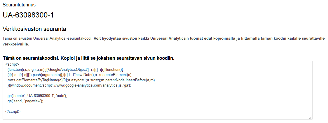 Google Analytics seurantakoodi
