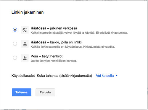 Tee Google My Maps -kartasta julkinen