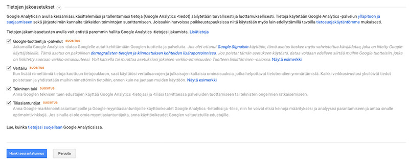 Google Analytics -tilin tietojen jakoasetusten määritys