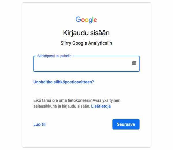 Google-tilille kirjautuminen tai tilin luominen