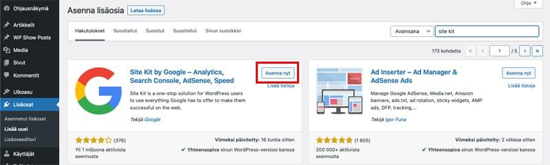 Google Analytics käyttöön WordPress-sivustolle Google Site Kit -lisäosan avulla.