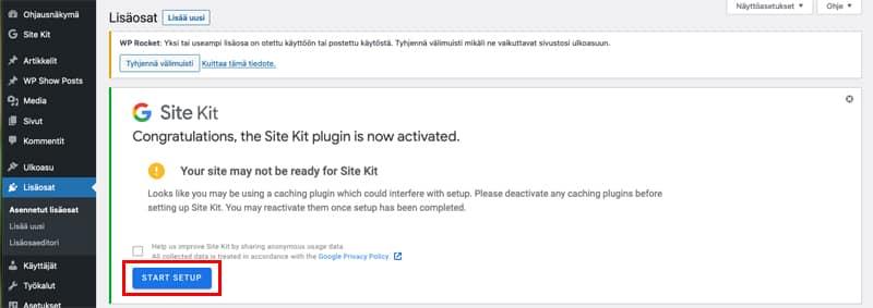 Yhdistä Site Kit Google Analytics -tiliin